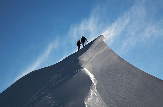 On the east ridge of  Mont-Maudit